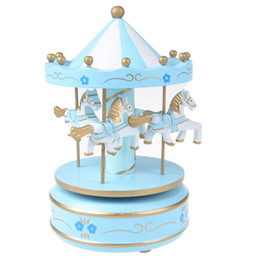 Wholesale Toy Carousels - Carousel Music Box 4 Horses Rotating Music Box Birthday Valentine's Christmas Children Gifts Toy Sky Blue