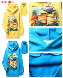 Wholesale Minions Children Tshirt - Free DHL Minions Kids Thicken Hoodies 2 Colors Boys Girls Long Sleeve Winter Hoodied Tshirt Children Sports Sweater For 4-12yr