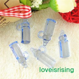 Wholesale Baby Arrival Favors - New Arrivals-High Quality-500pcs Mini Acrylic Clear Blue Baby Bottles Baby Showers Favors~Cute Charms ~cupcake decorating