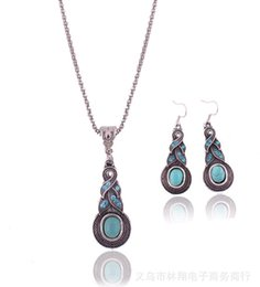Wholesale Cheap Fashion Accessories Wholesale China - Fashion Vintage Pattern Blue Crystal Turquoise Pendant Jewelry Sets Earrings Necklace For Party Women Dresses Accessories Cheap 50 Wholesale
