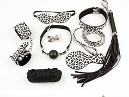 Wholesale Gift Sets For Adults - 8 in 1 Leopard Plush BDSM Bondage Kits Sets Adult Sex Toys for Couple Sexual Bondage Restraint Kits Valentines Gifts
