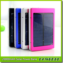 Wholesale Mah Charger External - 20000 mAh Solar Power bnak Panel external Charger Dual 20000mah solar Charging Ports 3 colors choose for