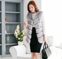 Wholesale Ladies Mink Vests - 2015 Winter Women Plus Size Faux Fur Coat Fashion Long Mink Vest Jackets Faux Fox Fur Vest Ladies Outwear Fur Coats for Women