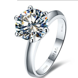 Wholesale Sona Rings - wholesale Free Shipping Platinum Plated 2 CT synthetic SONA Diamond Engagement rings for women,925sterling silver ring, Weeding ring