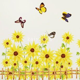 Wholesale 3d Flower Wall Decals - AM811 Garden Flower Living Room Vinyl Wall Art Decals Sofa Decoration Home Decor Bedroom 3D Wall Stickers Wallpapers