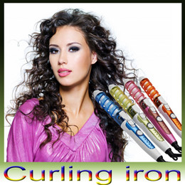 Wholesale Pro Curl Hair Styler - Magic Pro Hair Curler Electric Ceramic Hair Curler Spiral Hair Rollers Curling Iron Wand Salon Hair Styling Tools Styler US EU AU UK Plug