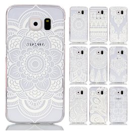Wholesale Design Draw - For Samsung S6   S6 Edge Texture Hollow Lace Design Transparent Printing Drawing Cover Plastic Hard Back Case for Galaxy S6 G9200 G9250