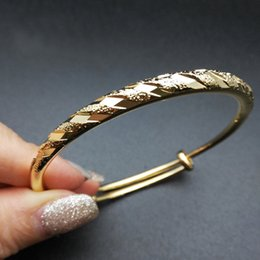 Wholesale copper brushes - Women's Jewlery 18K Yellow Gold Plated Brushed Meteor Carved Round Fashion New Bracelets & Bangles Party Hot Gift for Girl Friend