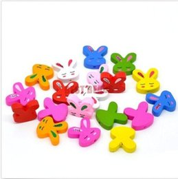 Wholesale Wooden Rabbit Shapes - 100pcs 20 x19mm Mixed Color Rabbit shape Wooden Beads Jewellery Craft Hobbies Kids