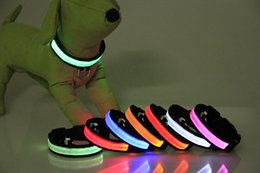 Wholesale Large Yellow Necklace - Nylon LED Flashing Dog Collar LED Pet Collar Necklace Red Yellow Blue Green White Pink Orange Multicolor S M L XL Mix Order