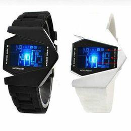 Wholesale Digital Plane - Hot Fashion Stealth Plane Aircraft Bomber Shape Sports LED Digital Watch Silicone Wristwatch Date Chronograph Women Men Watches