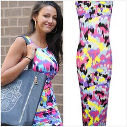 Wholesale Lace Tank Top Bodycon Dress - New 2016 Spring summer women casual dress fashion beach O-neck sleeveless Floral Splash printed tank top Celeb Bodycon dresses