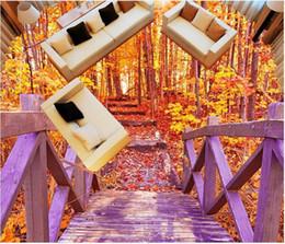 Fliesen Für Badezimmer Fußböden Wände Rabatt Tapeten Für Wände Holzbrücke  Herbst Wald Badezimmer 3D Floor Floor