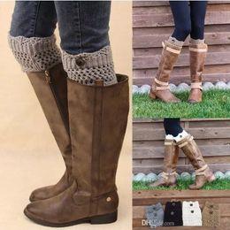 Wholesale Wholesale Designer Belts For Women - Leggings For Women Women Ladies Winter Leg Warmers Button Crochet Knit Boot Socks Toppers Cuffs Designer Belts womens leggings Leg Socks
