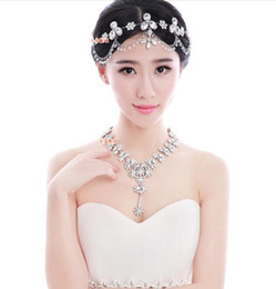 Wholesale Drop Earring Supplies - Romantic Clear Crystal Water Drop Bridal Jewelry Set Crown Tiaras Necklace Earrings Wedding Jewelry Supplies 2015 Jun New Style