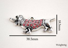 Wholesale Dachshund Pendant - Crystal Dogs New Arrival free shipping 10pcs antique silver zinc studded with sparkling pink crystals Dachshund Animal Pendant