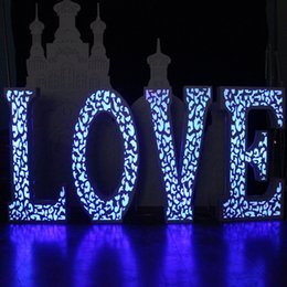Wholesale Love Cake Designs - New Arrival Hollow Carved Flash LOVE Design Wedding Centerpieces Road Lead Backdrop Props Decoration Supplies Free Shipping