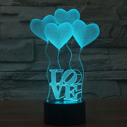 Wholesale Acrylic Keyboard - Wholesale- 3D Illusion Lamp LED Night Lights Love Heart Acrylic Discoloration Colorful Atmosphere Lamp Novelty Lighting For Valentine'S Day