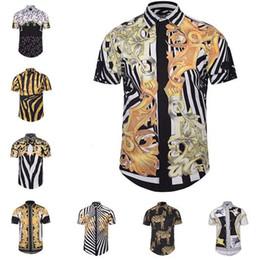 Wholesale designer mens cotton dress shirts - Brand Men Shirt Designer 3D Printing Casual Shirt Short Sleeve Summer Shirts Slim-Fit Mens Dress Shirts M L XL XXL XXXL BLG0408