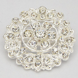 Wholesale Flower Bouquet Designs - 2015 New Design Pretty Silver Tone Flower Alloy Pin Brooches Wedding Bridal Bouquet Diamante Brooch B912 Hot Selling Invitation Card Pins