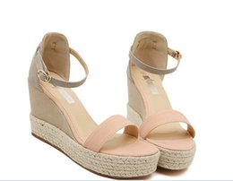 Taille 34 talons roses en Ligne-Taille 34-38 Pink Summer Women Platform Wedges Sandales Chaussures Femmes 2016 Mixed Colors Chaussures High Heel Women Ankle Strap 4010