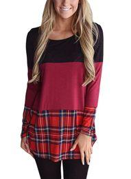 Wholesale Casual Check Shirt Girl - 2017 New Fashion Women's Plaid Raglan Long Sleeve Color Block Base Top Tees Ladies Pullover Round Neck Checks Big girls Casual T Shirts