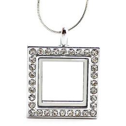 medalha de prata quadrada Desconto 5 PCS !! Silver Square vidro flutuante charme medalhão de liga de zinco + strass 24.5x31.5mm (cadeias incluídas gratuitamente) LSFL011-1 * 5