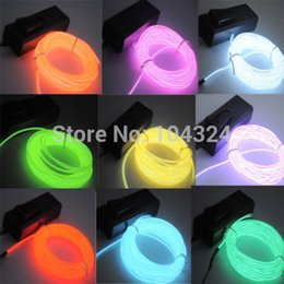 Wholesale Neon Party Lights - US 5M 16ft Flexible EL Wire Neon LED Light Rope Party Car Decorati BATTERY PACK