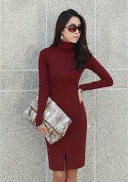 Wholesale New Korean Women S Dresses - New Korean Women Winter Dress,Turtle Neck Long Sleeve Split Design Slim OL Lady Bodycon Knit Dress Plus Size G0792