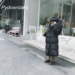 Wholesale large girls winter coats - 2018 Large Size Winter Warm Children Cotton Jacket for Jackets Girls Clothes Child Long with Hooded Cap Thickening Loose Coat Parka