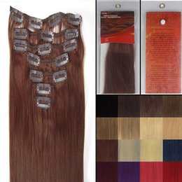 """Wholesale Extensions Clip Auburn 33 - 15""""18""""20""""22"""" Woman Beauty Clip-in 7pcs Hair Extension silky straight weaving hair Products #33 dark auburn,70g per pack"""