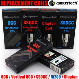 Wholesale Kanger Replacement Coils - Authentic Kangertech SSOCC Vertical OCC Coils Replacement Coil Ni200 0.15 0.2 0.5 1.2 1.5 ohm sub Kanger Subtank mini nano plus atomizer DHL