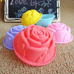 Wholesale Silicone Cake Moulds Wholesale - 8CM DIY silicone molds for cake decorating dessert chocolate soap mould baking tools rose 8cm cupcake Muffin Cups mould