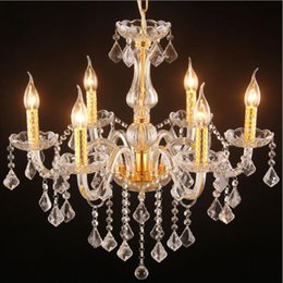 Wholesale Cheap Candle Led - Luxury Candle Crystal Chandelier Lustre Clear K9 Crystal Pendant Lamp Modern dining room Drop light Cheap