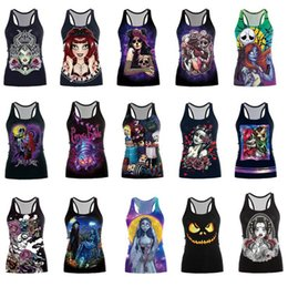 Wholesale Sexy Skull Tank Tops - Halloween Gothic Skull Print Blouse Vest T Shirt Tops Singlet Women Girl Sleeveless Strechy Bodycon Blouse 20pcs OOA3414