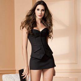 Wholesale Thong Mini Dress - Wholesale-2015 Super Deal Plus Size Women Vertical Stripes Corset Dress Sexy Zipper Corsets Bustiers + Mini Skirt+Thongs S16