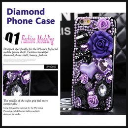 Wholesale Plastic Flowers Design - Luxury Design For iphone 6 case 6 plus phone shell retro fashion resin flowers purple diamond shockproof Popular brands Back Cover