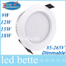 Wholesale Downlight Inch - Dimmable 9W 12W 15W 18W Led Downlights 160Angle 2.5 3 4 5 Inch Recessed Led Downlight Warm Cool White Silver White Shell
