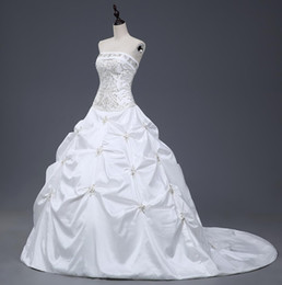 Wholesale Taffeta Empire Ball Gown - Gorgeous Ball Gown Wedding Dresses Cheap Strapless With Embroidery Ruffles Sequin Lace Up Bridal Gowns Under 100 Real Sample
