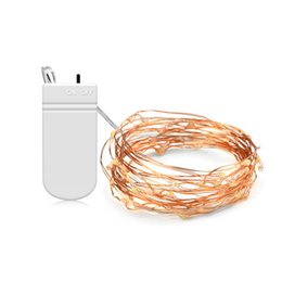Wholesale thin wire string lights - 5M 2M LED Copper wire Fairy String Lights 50LEDs 20LEDs With NO   OFF Switch for Outdoor Garden Christmas Decoration