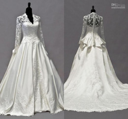 Wholesale Kate Middleton Neck - 2015 Elegant Royal Style Wedding Dresses V-Neck Appliques Lace Pleat Long Sleeves Cathedral Train Taffeta Bridal Gowns By Kate Middleton new