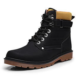 Wholesale Cowboy Footwear - Black XiaGuoCai Autumn Winter Men Tooling Boots High Top Lace Up Army Ankle Boots High Quality Male Martin Boots Men's Footwear