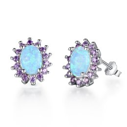 Wholesale Opal Amethyst - Amethyst Cubic Zirconia Aquamarine Blue Fire Opal Stud Earrings 925 Sterling Silver Opal Jewelry For Women