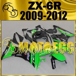 Wholesale Kawasaki 636 Race Fairings - Five Gifts Motoegg Injection Mold Plastic Fairings Complete Set For Kawasaki Ninja 636 ZX-6R 2009-2012 ZX 6R 09-12 Racing Black Green K69M15
