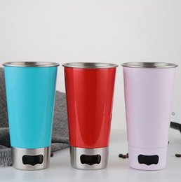 Wholesale Large Drink Glass - 500ML 304 Stainless Steel Cups With Bottle opener Juice Beer Glass Portion Cups 16oz 20oz Kitchen Bar Large Drink