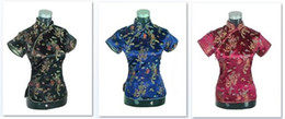Wholesale button blouse - Shanghai Story New Sale Chinese cheongsam top traditional Chinese Women's Silk Satin Top china dragon and phoenix blouse top Qipao Shirt