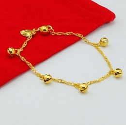Wholesale 24k Gold Baby Jewelry - Wholesale-24K Gold Plated Bell Jewelry Baby Chain Bracelet