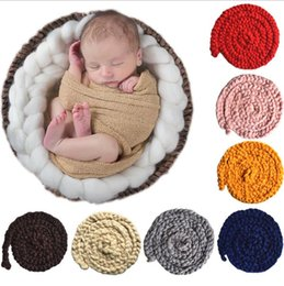 Wholesale Washing Photos - Newborn Wool Twist Rope Photo Props Backdrop Background Baby Photography Prop Blanket Handmade Crochet Knitted Costume Blanket