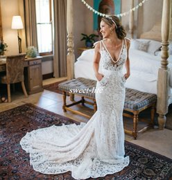 Wholesale Pockets Bow Wedding Dress - Best Selling Inbal Dror Lace Wedding Dresses Backless Plunging Deep V Neck Chapel Train with Pockets 2016 Sheer Summer Beach Bridal Gowns