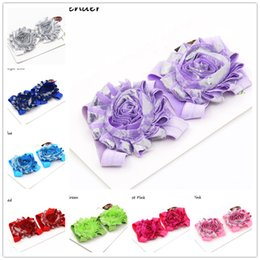 Wholesale Lace Ribbon Decorations - 16pairs baby barefoot sandals shabby chiffon flower shoes infant bare booties newborn baby Sandals Foot Flower Feet Band Feet Decoration